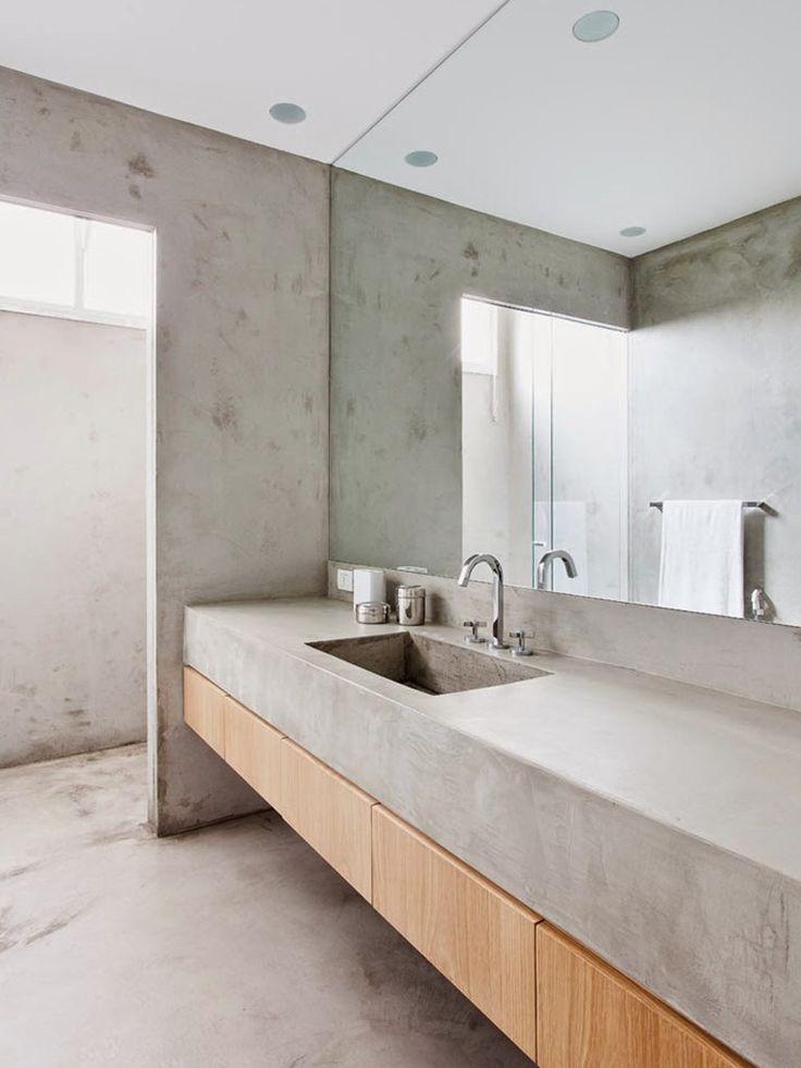 concreto e madeira em banheiro