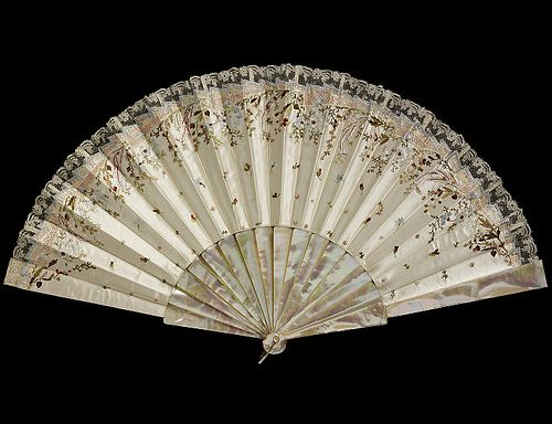Vintage Fan: 19th Century c1875 embroidered silk leaf with mother of pearl sticks