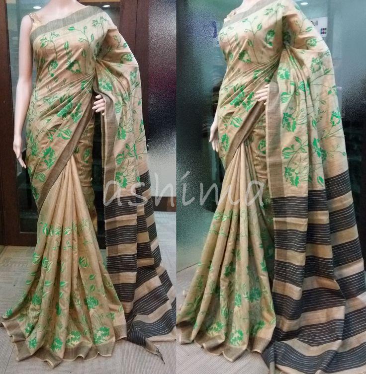 Code:2206166 - Tussar Silk Saree With Embroidery, Price INR:7590/-