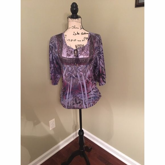 Purple dress shirt flowy purple dress shirt with tie in the front. 3/4 sleeves Tops