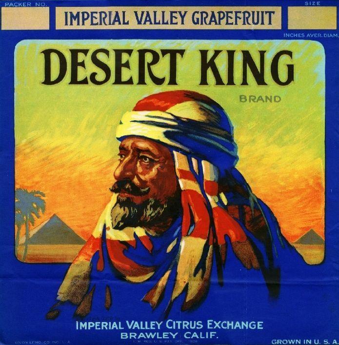 Brawley, Imperial Valley, CA -Vintage Desert King Egypt Egyptian Grapefruit Citrus Fruit Crate Box Label Advertising Art Print. Printed on highest quality stock soft gloss paper.