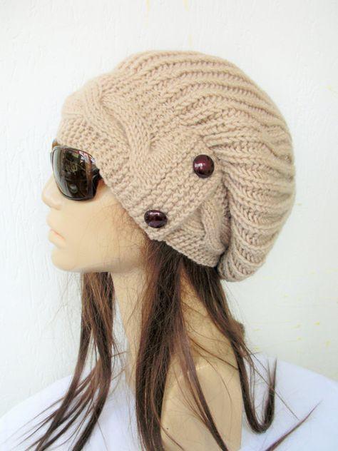 Slouchy hat Women Knit Hat Slouchy Beanie Winter Hat by Ebruk