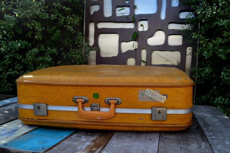 Vintage suitcase luggage yellow airport brand case storage by retrovintageoddities on Etsy