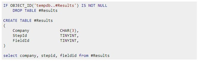 SQL - If temp table exists then drop