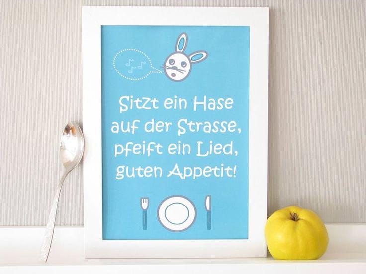 Print*Tischspruch*Esszimmer*Hase*Besteck*Teller