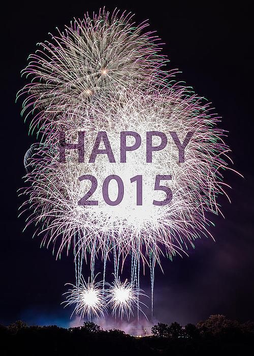 Happy New Year 2015 with fireworks Greeting Card by Frank Gaertner.