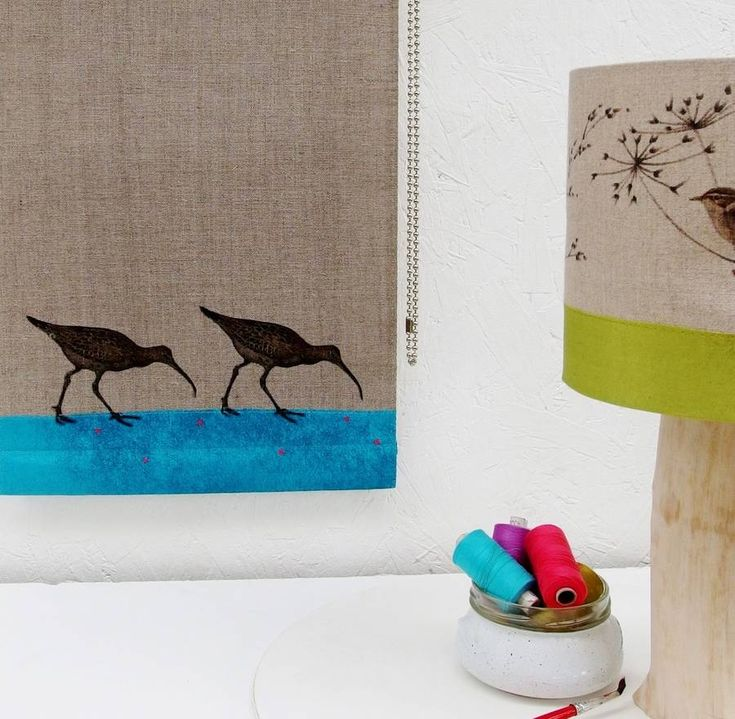 Linen Roller Blind With Curlews