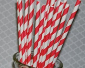 """50 red & white extra long 10.5"""" soda bottle striped paper drinking straws - with FREE DIY Flags.  See also - """"Personalized"""" flags option.. $9.00, via Etsy."""