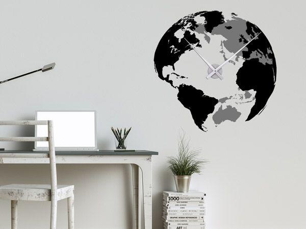 Wandtattoo Weltuhr in Schwarz-Grau als kreative Wanduhr fürs Büro. Die XXL-Uhr gibt es in vielen Farbkombinationen.