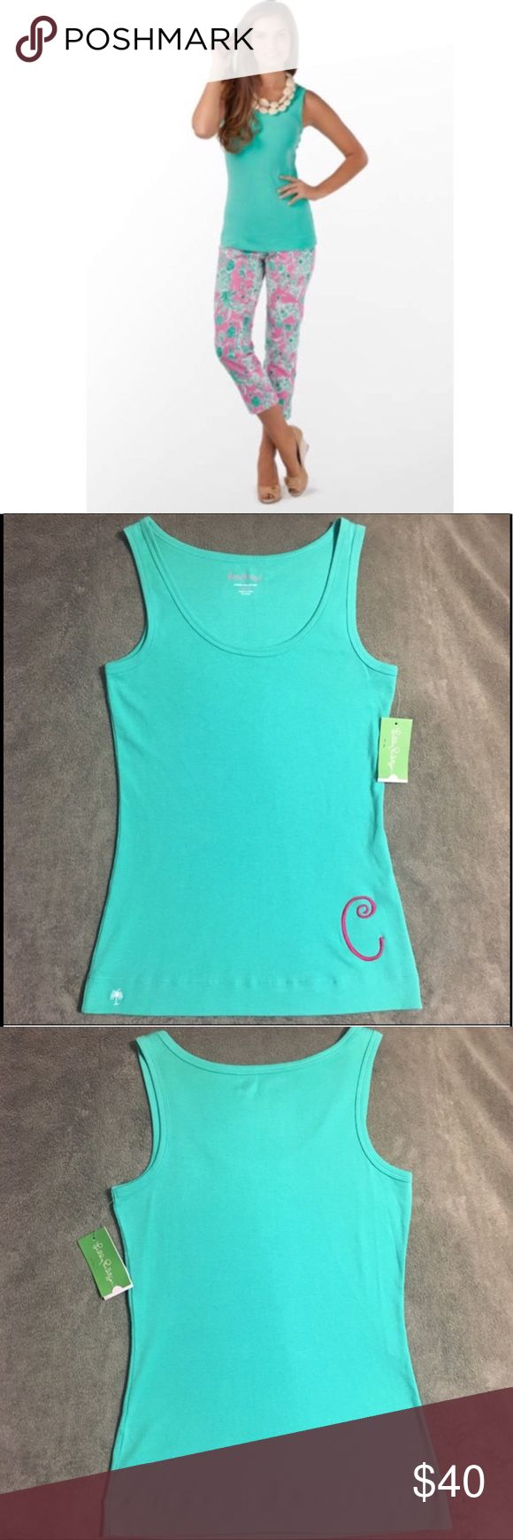 """NWT Lilly Pulitzer """"C"""" Monogrammed Heather Tank Lilly Pulitzer Monogrammed Heather Tank Top. Brand new with tags, never worn, but the price was removed from the tag. Lagoon green color with an embroidered pink """"C."""" This is the perfect gift for any Lilly lover with the initial C! Stock photo does not show the monogram. Lilly Pulitzer Tops Tank Tops"""
