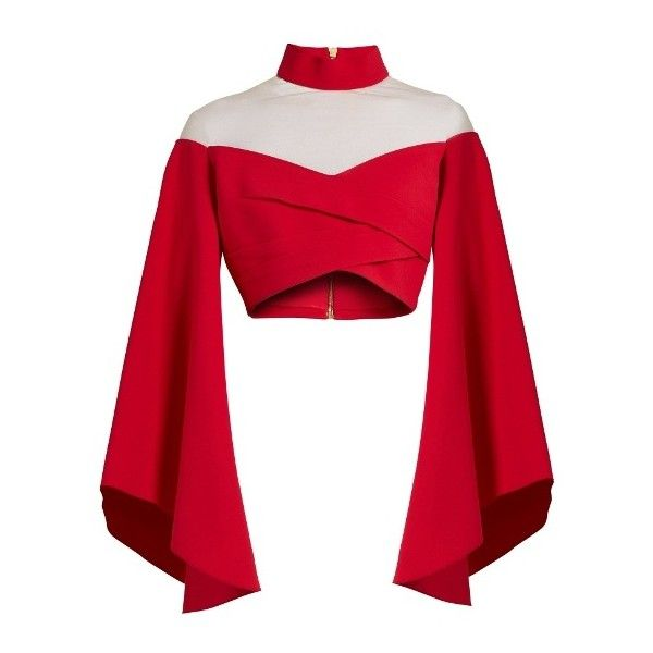 Balmain High-neck tulle-insert cropped top (27.873.820 IDR) ❤ liked on Polyvore featuring tops, red, off shoulder tops, balmain, high neck top, off the shoulder bell sleeve top and off shoulder bell sleeve top