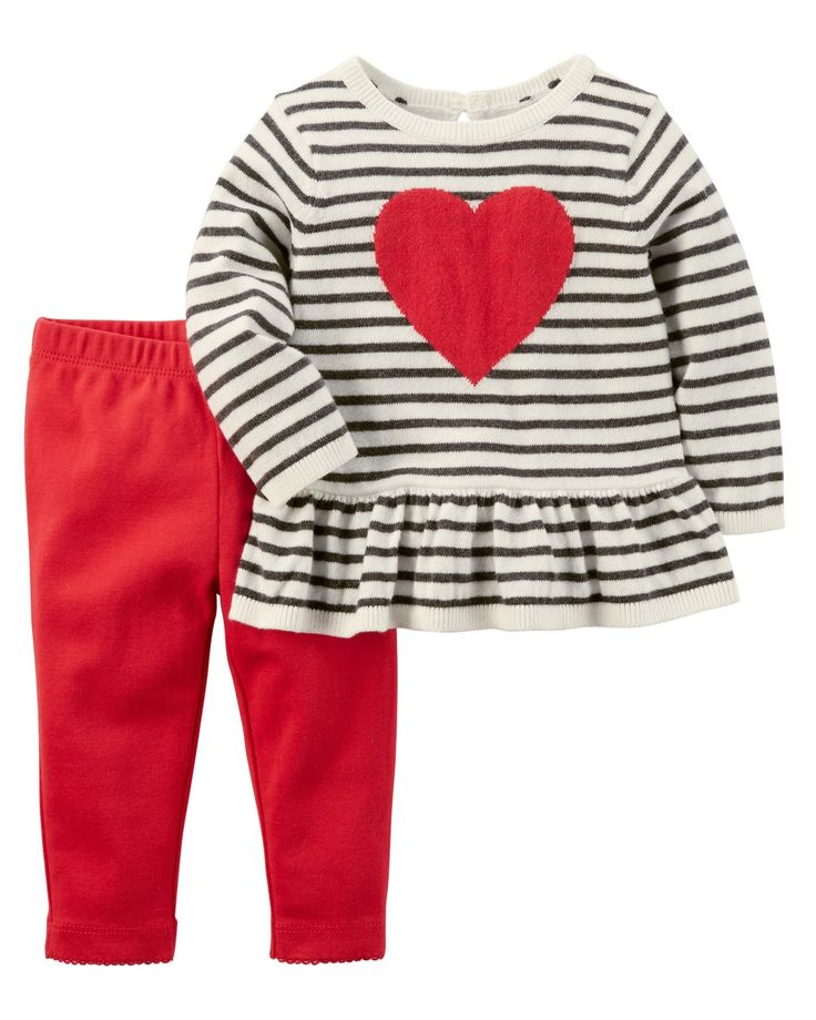 Baby Girl 2-Piece Heart Top & Pant Set from Carters.com. Shop clothing & accessories from a trusted name in kids, toddlers, and baby clothes.