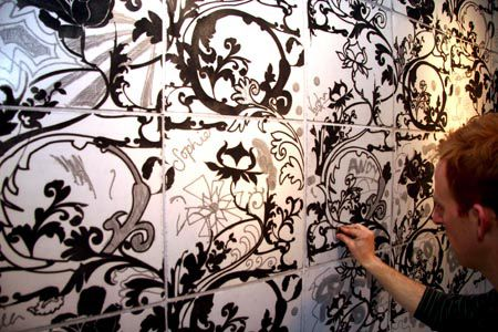 A magnetic wallpaper that people can doodle on using magnets. By Linda Florence.