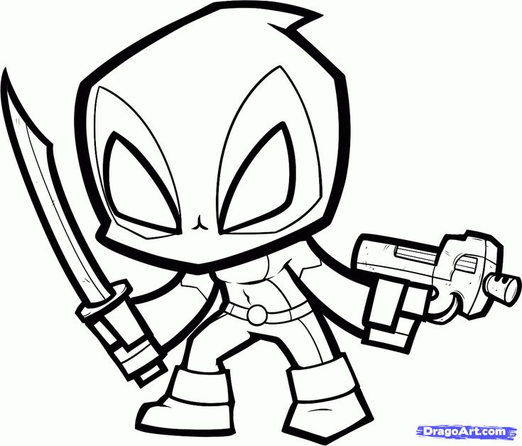 Chibi Deadpool Coloring Pages