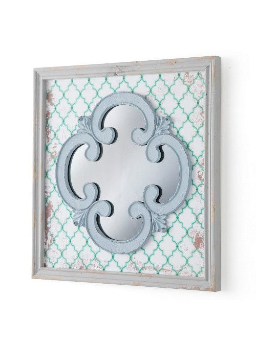 E' in stile vintage questo specchio con cornice quadrata realizzata in legno…