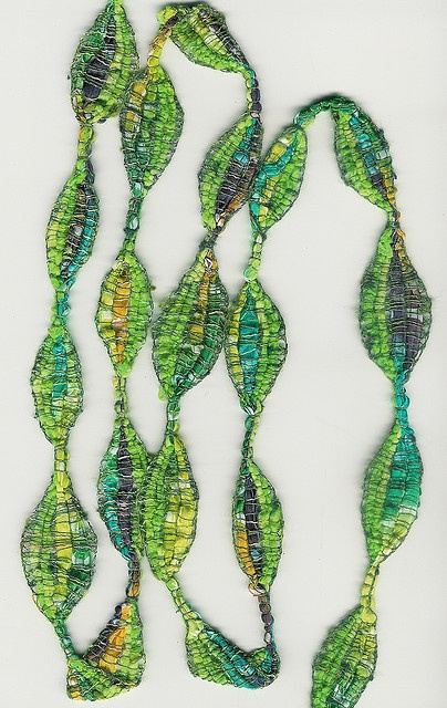 Vibrant colors, Rich textures. Like sea kelp floating in the ocean. Fiber necklace. Wear what you love.