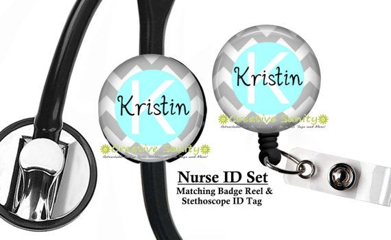 Nurse ID Set, Personalized Stethoscope ID Tag and Badge Reel Combo Set, Grey Chevron with Light Blue Center