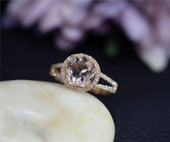 Round Natural VS Morganite Ring Halo diamonds Solid 14K Rose Gold Ring Morganite Wedding Ring Engagement Ring