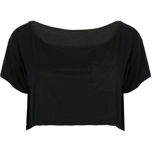 Black Pocket Front Loose Short Sleeve Crop T-shirt ($14) ❤ liked on Polyvore featuring tops, t-shirts, shirts, crop top, short sleeve t shirt, loose fit t shirts, crop t shirt, cotton t shirt and loose t shirt
