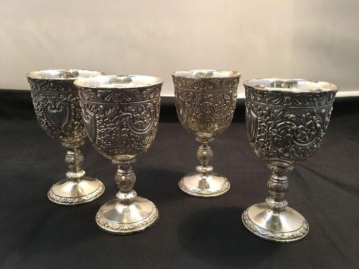 Silver Plated Small Goblets ; Set of 4 - Metal Crafted  in Japan in Collectables, Metalware   eBay!