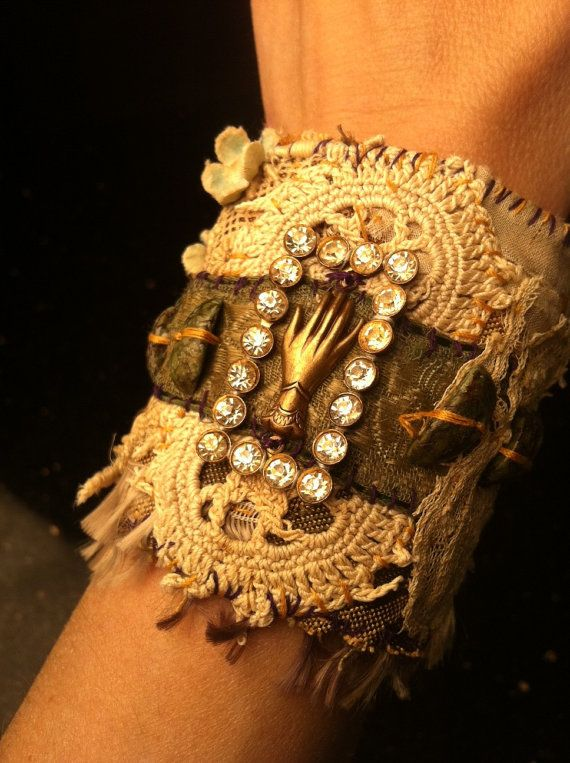 ♥ Antique Textiles and Found Object Wrist Cuff by AlteredArcheology, $62.00