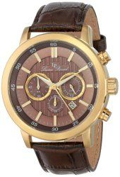 Lucien Piccard Men's 12011-YG-04 Monte Viso Chronograph Brown Textured Dial Brown Leather Band Watch