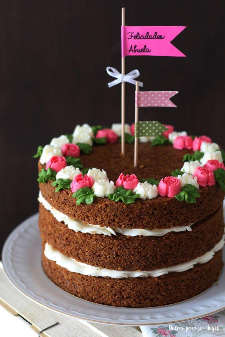 """Dulces para un Angel: Tarta y cupcakes de zanahoria """"Naked cake"""""""