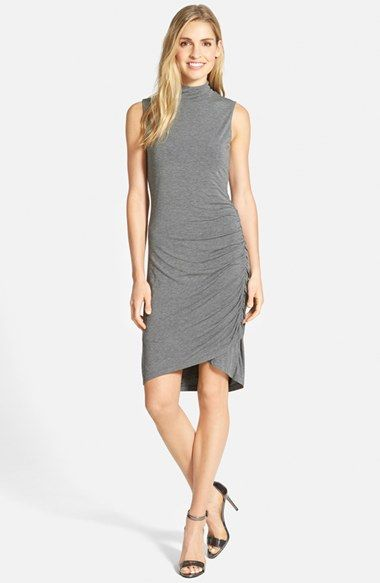 Halogen® Sleeveless Side Ruched Mock Neck Knit Dress