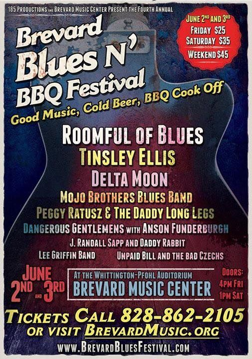 Brevard Blues & BBQ Festival 2017 on June 2 & 3. Hear the sounds of various blues bands and enjoy the tastes of BBQ at the Brevard Blues & BBQ Festival!  This fourth annual event lineup includes: Tinsley Ellis, Roomful of Blues, Delta Moon, Anson Funderburgh, The Mojo Brothers Blues Band, Peggy Ratusz and the Daddy Long Legs, Lee Griffin Band, Dangerous Gentlemens, Unpaid Bill and the Bad Czechs, J Randall Sapp, Daddy-Rabbit and many more!  828-862-2105  brevardbluesfestival.com/