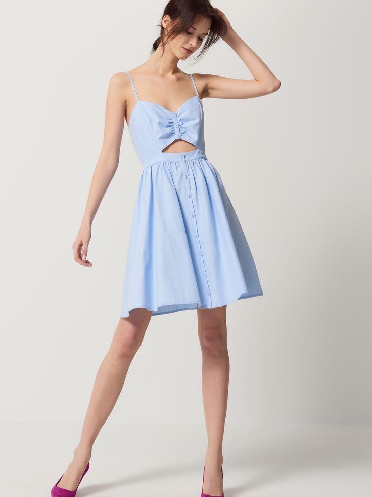Sukienka z romantycznym gorsetem, SUKIENKI, KOMBINEZONY, niebieski, MOHITO