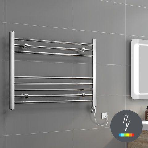 Ladder Rail Modern Dual Fuel Towel Radiator in Chrome 600mm x 800mm - soak.com
