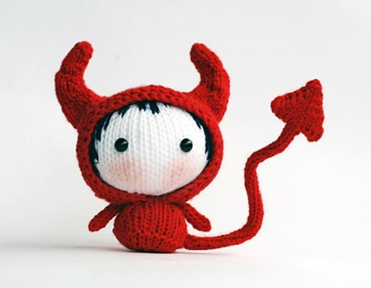 red devil doll toy from the tanoshi series - Free Halloween Knitting Patterns