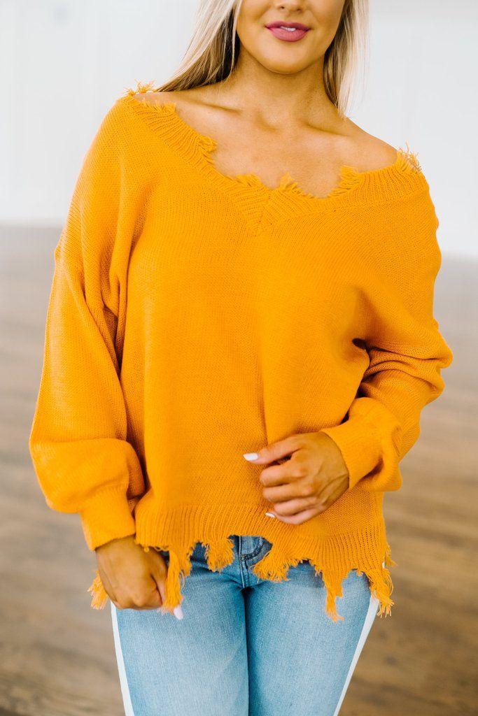 a54845522d Frayed V Neck Sweater- Orange in 2018