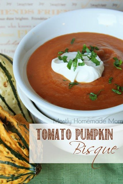 Tomato Pumpkin Bisque - This delicious tomato soup uses canned pumpkin as a thickener - SO good and a super quick weeknight dinner idea!