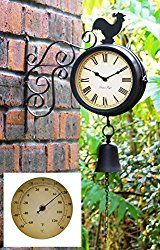 Cockerel and Bell Outdoor Clock and Thermometer – 47cm / 18.7in