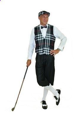 Ultimate Golf Knickers Outfit includes Black Plaid Vest, Cap and Bow Tie with Silk Touch Solid Black Golf Knickers.