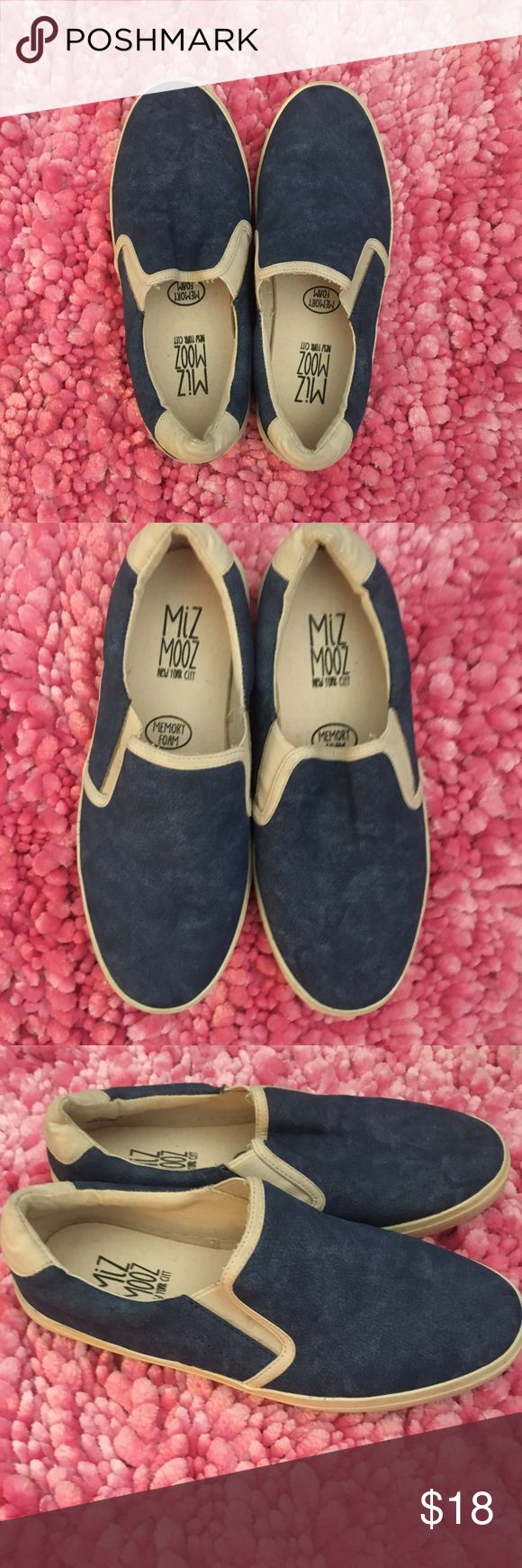 MIZ MOOZ Blue Leather Slide on Sneakers Only worn twice! Adorable MIZ MOOZ grey-ish/blue leather slide on sneakers! Size 7 women's Miz Mooz Shoes Flats & Loafers