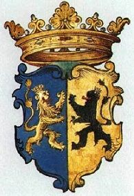 Escudo de armas de María de Güeldres, esposa de Jaime II, hija de Arnold, Duque de Güeldres, y Catalina de Cleves (Gran-tía de Ana de Cleves, y tatarabuela de María de Guisa)
