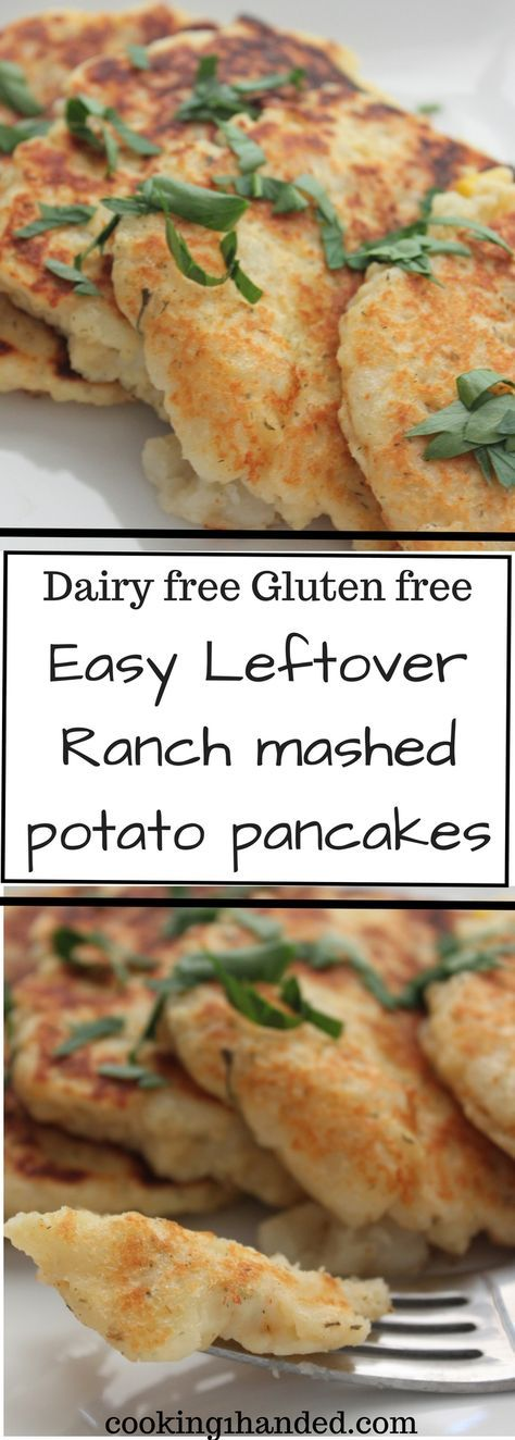 Leftover mashed potatoes have never looked better. Easy dairy free, gluten free side dish. Perfect for Thanksgiving leftovers. Leftover ranch mashed potato pancakes are ready in ten minutes.