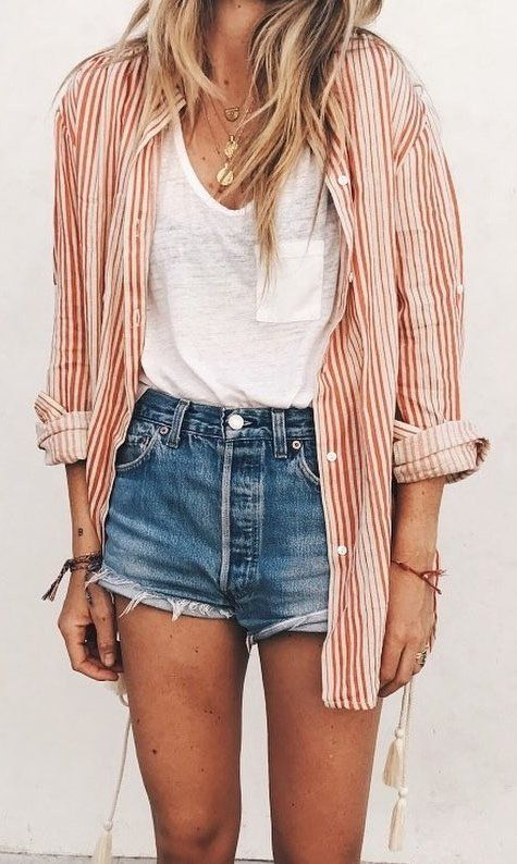 Incredibly white t-shirt, jean shorts, and a coral button up. Visit Daily Dress Me at daily…