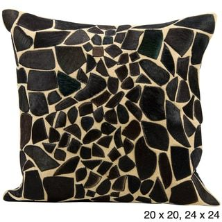 Mina Victory Natural Leather and Hide Giraffe Black Throw Pillow by Nourison - Free Shipping Today - Overstock.com - 14985733 - Mobile