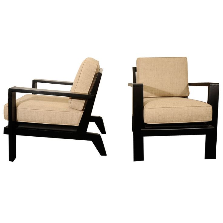 Rene Gabriel, black lacquered wood armchairs (pair)