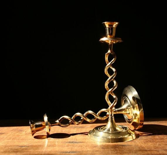 Brass candlesticks barley twist brass candle by cristinasroom, on etsy.