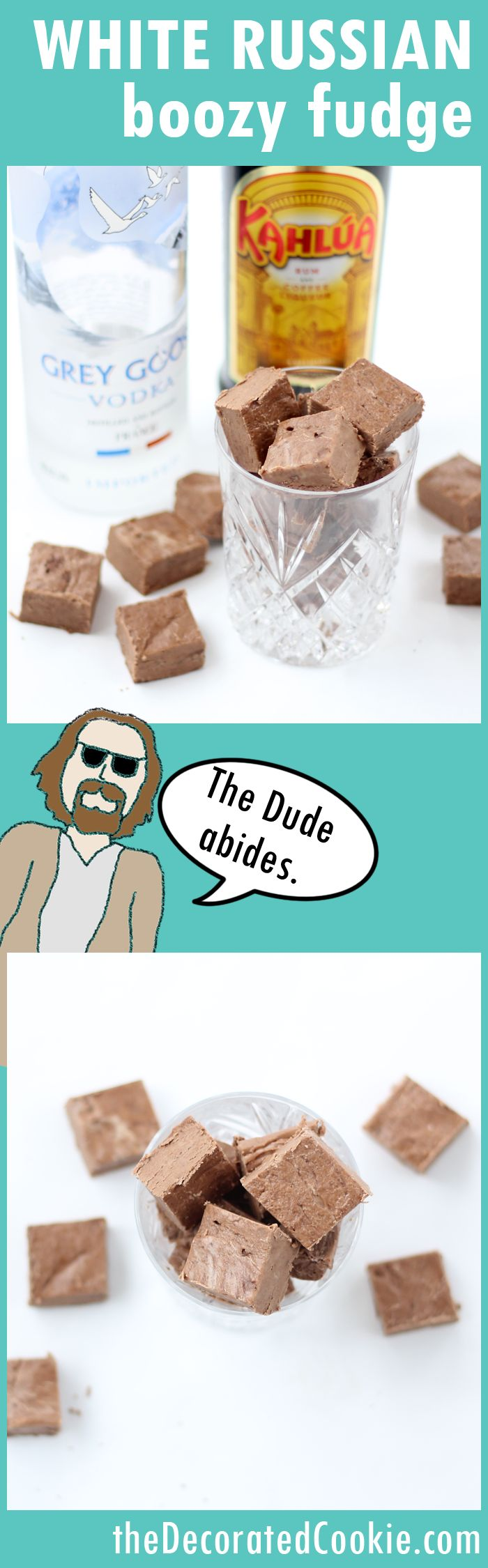 White Russian boozy fudge - 4-ingredients, minutes to make, full of booze and awesome. The Big Lebowski would approve.