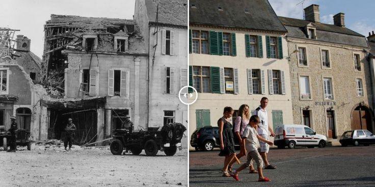 PHOTOS. Débarquement du 6 juin 1944 : 10 images avant-après des plages et villages de Normandie