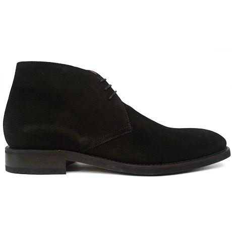 Zapato botín chukka en ante marrón con filis de Berwick 1707 vista lateral