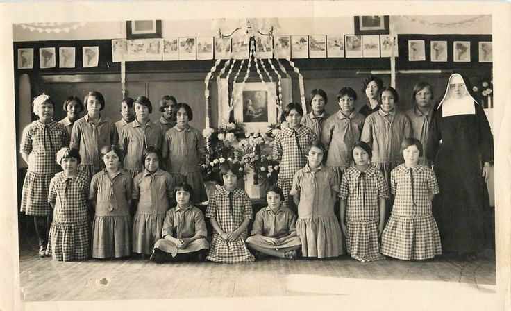 c1920 Sioux Indian Rosebud Reservation St Francis School Girls/Nun Photograph