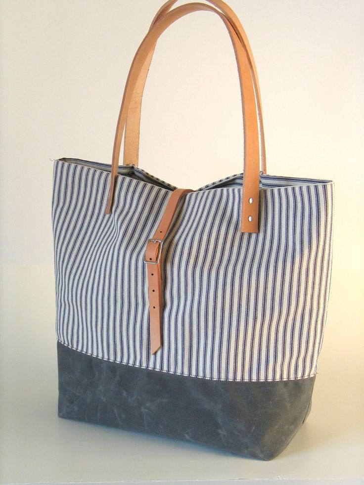 Waxed Canvas and Ticking Stripe Tote with Leather by Zakken, $75.00
