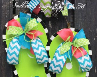 Flip Flop door hanger, Summer door hanger, beach decor