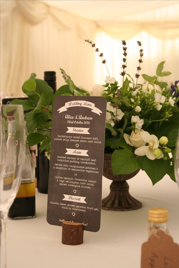 A blackboard themed menu card created by #novaweddingplanning